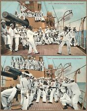 2 Antique Postcards BOXING FENCING ON BOARD UNITED STATES WARSHIP Mitchell 1317