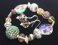 Handmade Beach Bling Stretch Bracelet and Earring Set with Sterling French Wires