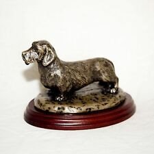 WIRE HAIRED DACHSHUND  Bronze Figurine. Hand made in England. Ideal gift.