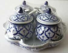 CERAMIC Condiment Tray SET x4 Four Containers Spoons Lids Base Asian RESTAURANT