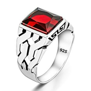Solid 925 Sterling Silver Chain Design Rectangle Gemstone Men's Ring