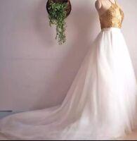 UK White/ivory Multiple Colors Tulle Skirt Train Wedding Dress Bridal Size 6-20