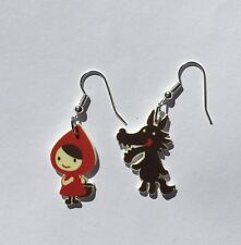 Red Riding Hood Earrings Mix Match Big Bad Wolf Charms