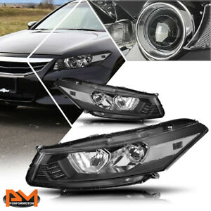 For 08-12 Honda Accord Coupe Projector Headlight/Lamp Black Housing Clear Side