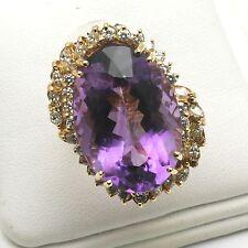 Vintage 14k yellow gold purple Amethyst Oval & Diamond Ring 40 carats! Huge!