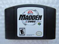 Madden NFL 2002 Nintendo 64 N64 Authentic OEM Black Video Game Cart Retro GREAT!