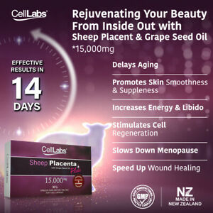 CellLabs 15,000mg Sheep Placenta with Grape Seed Oil Plus Stem Cell 30's capsule