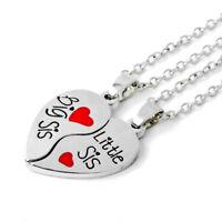 Collana doppio ciondolo pendente+catenina Big Sister Little regalo amica cuore