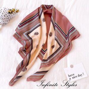 Women Lady Quality Large Classic Boho Square Silk Scarf Wrap Shawl-90*90cm