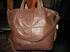 NWT  Isabella Fiore Maroquin Ella Leather Large Tote Bag ESPRESSO