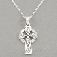 "925 CELTIC CROSS Knotwork Irish Charm Pendant STERLING SILVER 18"" chain Necklace"