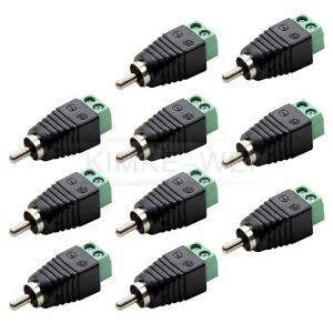 10Stk Cinch RCA-Stecker Adapter auf Klemmen Terminalblock Chinch Stecker Buchse