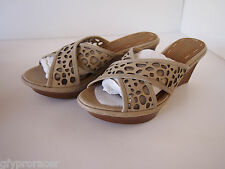 B Makowsky Leather Cross Band Wedge Sandals w/Cutout  Brown New 7.5M