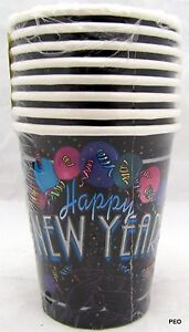 Happy New Year Beverage Cups 8 Count (9 oz) Decorations Paper New Year's Party