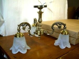 Vintage 3 Branch Ornate Brass Ceiling Chandelier Glass Shades included
