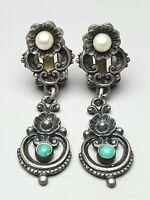 Ohrhänger Clips mit Perlchen & Türkise 835 Silber punziert 40er-60er Jahre /A516
