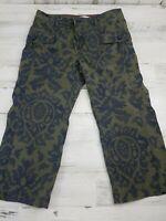 Tommy Hilfiger Womens 6 Petite Cargo Pockets Capri Cropped Pants Green Blue