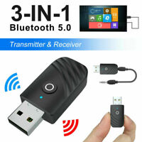3 in1 USB Bluetooth 5.0 Audio Transmitter Receiver Adapter for TV PC Car AUX AU