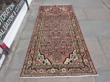 Vintage Hand Made Traditional Rugs Oriental Wool Faded Pink Long Rug 211x99cm
