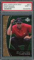 Tiger Woods 2001 Upper Deck Stat Leaders Golf Card #SL7 Graded PSA 9 MINT