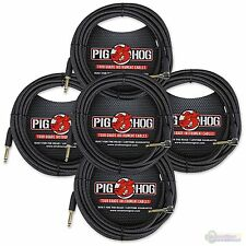 5-Pack Pig Hog PCH20BKR Black Woven Instrument Cable, 20ft Right Angle