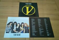 Vow Wow V 1987 Euro LP Inner Insert A1 B1 Arista 208678 Heavy Metal Hard Rock