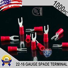 1000 Pack 22-18 Gauge Vinyl Spade Fork Crimp Terminals #6 Stud Tin Copper Core