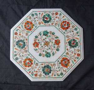 """16"""" White Malachite Marquetry Marble table Hallway Decorations outdoor Arts"""