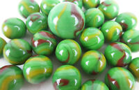 25 Glass Marbles DRAGON Green/Red/yellow game vtg style Shooter Taws Swirl