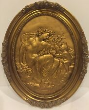 Antique L. OUDRY French Gilt Relief  Copper Plaque w Goddess & Putti 19th C. 19""