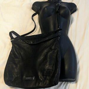 DKNY Donna Karan XL Tote Black Soft Leather Hobo Shoulder Bag Messenger Purse