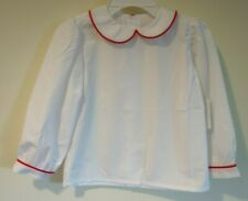 Nwt Remember Nguyen White With Red Trim Top / Blouse Girl's Size 6X