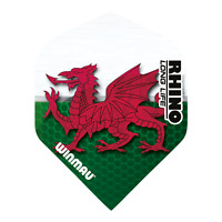 5 Sets of Winmau Rhino Darts Flights, Long Life Extra Thick in Welsh Emblem