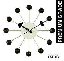 GEORGE NELSON REPLICA MODERN RETRO BALL CLOCK -BLACK - RRP $99 **PREMIUM**