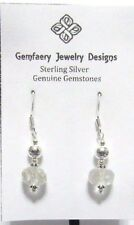 Sterling Silver Faceted Natural ROCK CRYSTAL Gemstone Earrings #7...Handmade USA