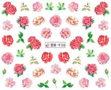 Nail Art Decals Transfers Stickers Red Pink Roses (BN936)