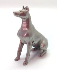"Doberman Pinscher Pewter Figurine 1.25"" Dog Sitting"