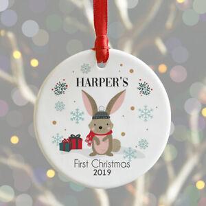Personalised Baby's 1st Christmas Bauble Woodland Rabbit Xmas Tree Decoration
