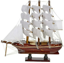 "Wooden Sailing Ship Nautical Model 10"" White Sails (ship is assembled)"