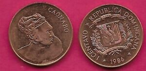 DOMINICAN REP 1 CENTAVO 1986 UNC BUST OF CAONABO RIGHT,HUMAN RIGHTS ACTIVIST,NAT
