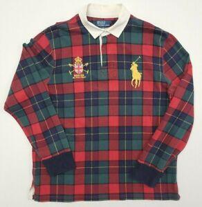 Vintage Polo Ralph Lauren Mercer Polo Team Green Plaid Rugby Shirt Size XL