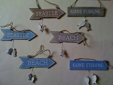 Sass & Belle Life's a Beach Sign Blue Hanging Fish Wooden Plaque Decoration