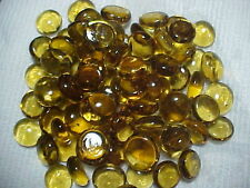 500 GOLD  FLAT GLASS MARBLES GEMS, VASE FILLERS, MOSAIC TILES $15.99 POST PD!!