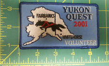 2001 Alaska Yukon Quest 1000 mile Dog Sled Race Embroidered Patch - Volunteer