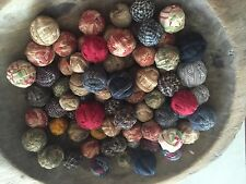 36 Tiny Primitive Rustic Rag Balls Bowl Fillers Farmhouse Look Old Antique