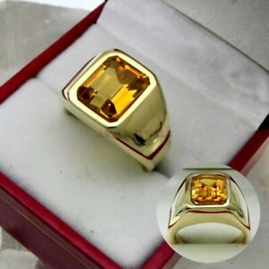 Natural Citrine Gemstone with Gold Plated 925 Sterling Silver Ring for Men's 696