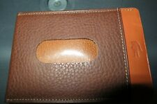 Lacoste Men's Leather Brown Two Tone ID Credit Card Minimalist Wallet