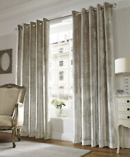 Ashley Wilde LUX Modern Soft Velvet Chenille Lined Eyelet Ring Top Curtains Pair