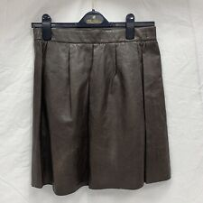 Vince Brown Leather Flounce Pleated Skirt Women's Size Small