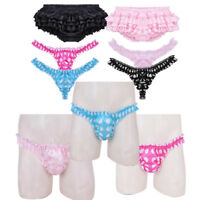 Sexy Men's Satin Frilly Thong Polka Dots Crossdress Panties Boxer Briefs Shorts